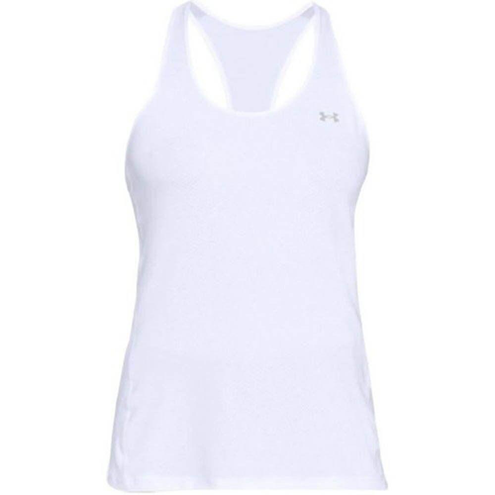 Under Armour Canotta Donna Fitness HeatGear Racer, Taglia: XS, Per adulto Donna, Bianco, 1328962 0100, IN SALDO!