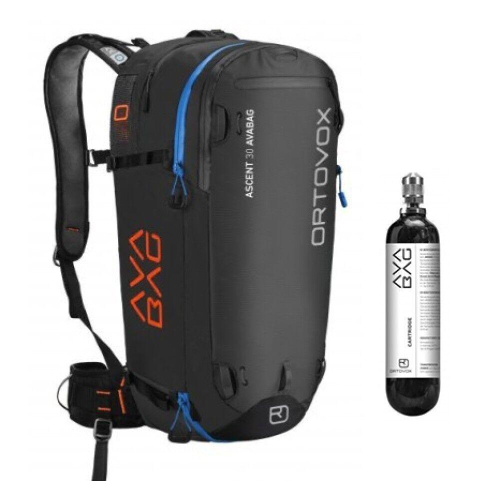 Ortovox Zaino Ascent 30 Avabag + Cartuccia Cartridge Carbon, Taglia: Unica, Unisex, Nero