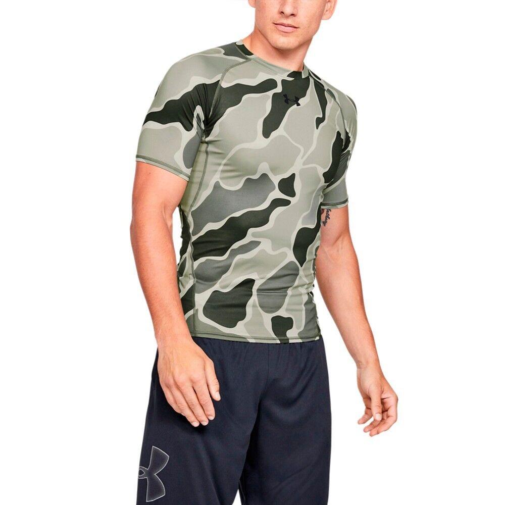 Under Armour T-shirt Uomo HeatGear Camo, Taglia: L, Per adulto Uomo, Verde, 77-1345722 0388, IN SALDO!