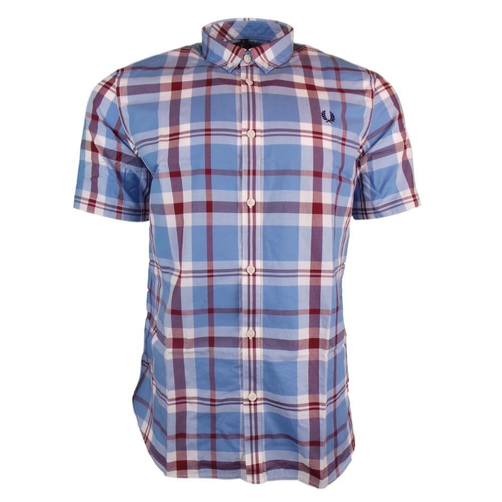 Fred Perry Camicia Bold Chech Shirt SS, Taglia: S, Per adulto Uomo, Azzurro, M1539-520, IN SALDO!