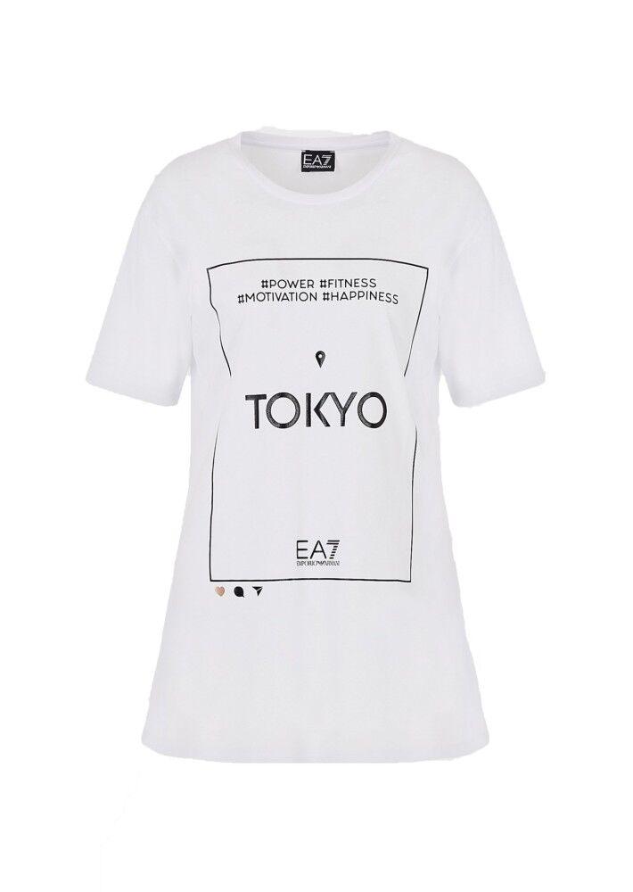 Ea7 T-Shirt Donna Train Graphic, Taglia: M, Per adulto Donna, Bianco, TJ9BZ-3HTT22-1100, IN SALDO!