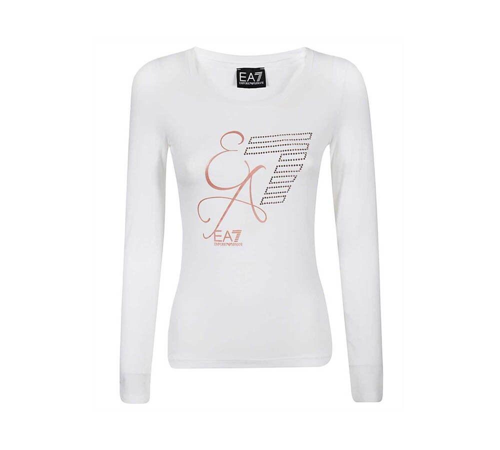 Ea7 T-Shirt Donna Train Logo Series Tee, Taglia: M, Per adulto Donna, Bianco, TJ12Z-6HTT24-1100, IN SALDO!