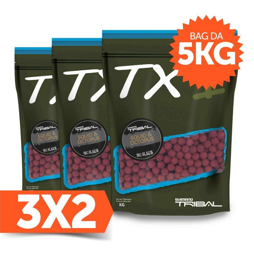 Shimano 3X2 Boilies TX1 Squid & Octopus (totale 15 kg), Marrone