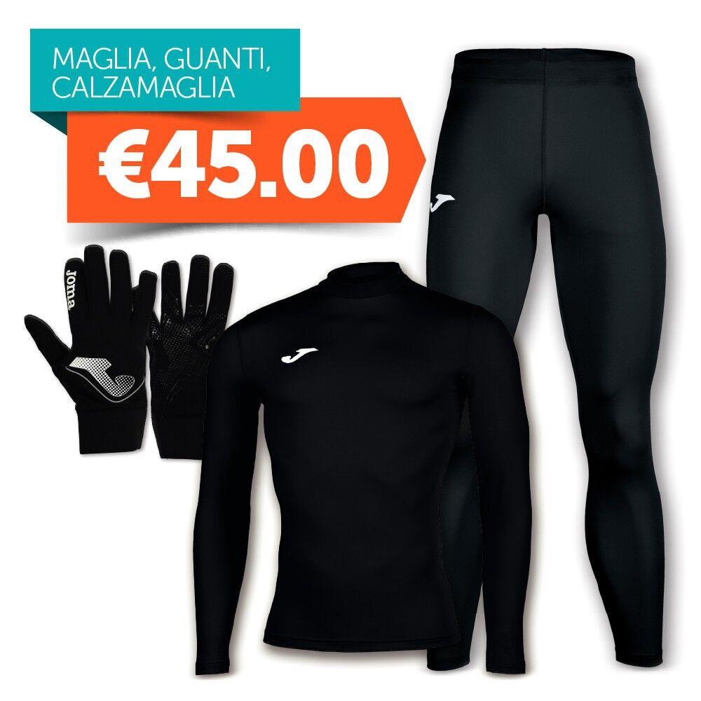 Joma Combo Intimo Maglia Termica + Calzamaglia + Guanti Nero, Taglia: Unica, Unisex, Nero