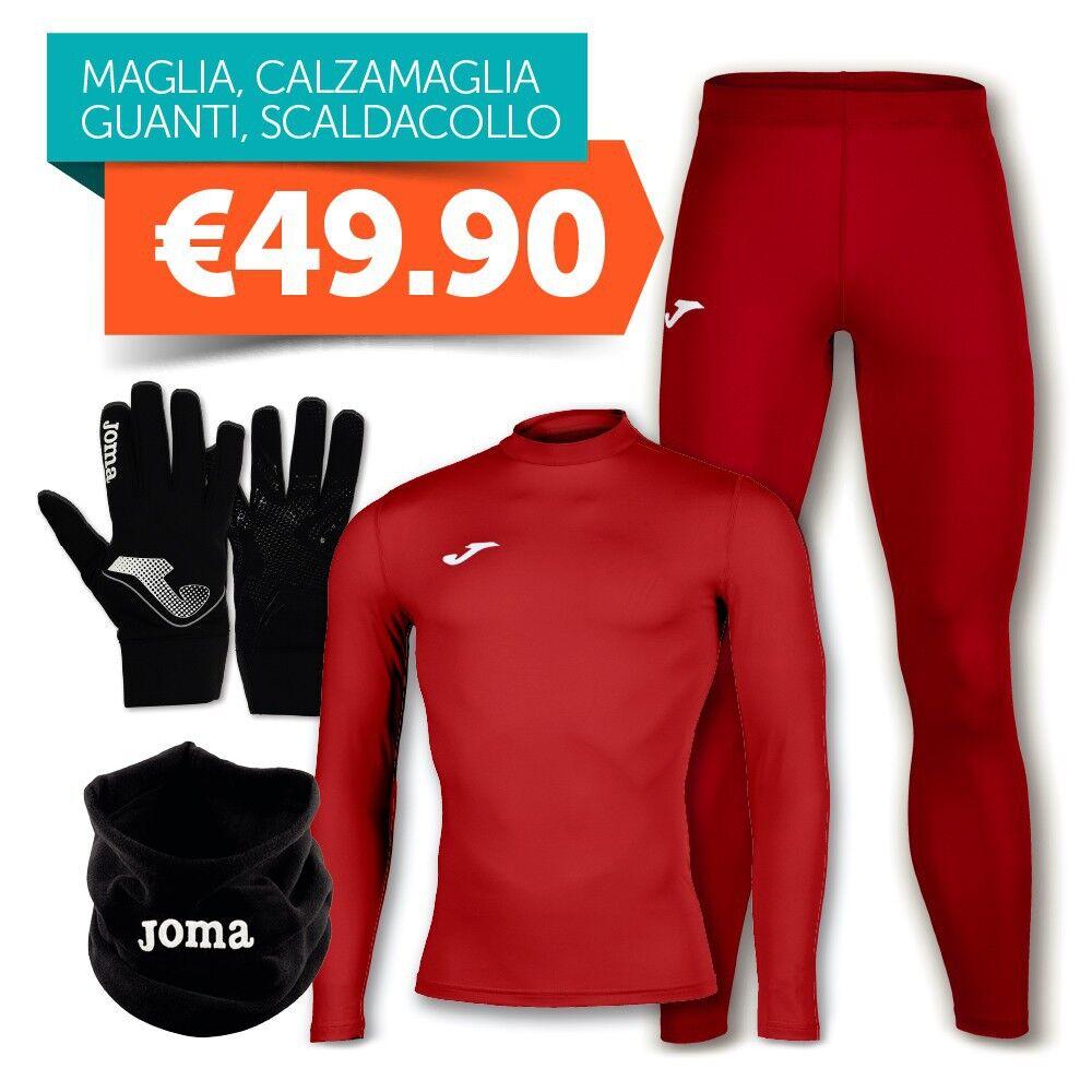 Joma Combo Intimo Maglia Termica + Calzamaglia + Guanti + Scaldacollo Rosso, Taglia: Unica, Unisex, Rosso