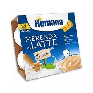 humana italia spa humana merenda al latte biscotto 4x100g 6m+