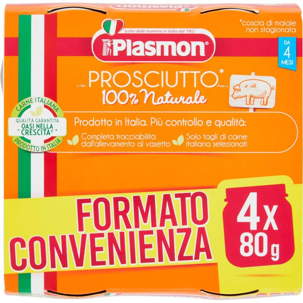plasmon (heinz italia spa) plasmon omogeneizzato prosciutto cotto 4x80g 4mesi+