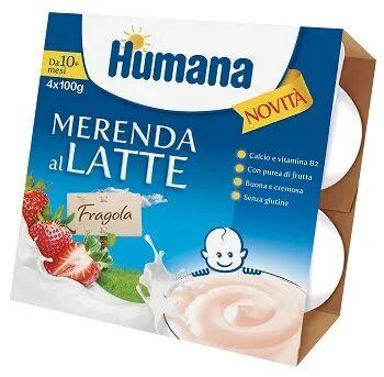 humana italia spa humana merenda latte fragola 4x100g 10 mesi+