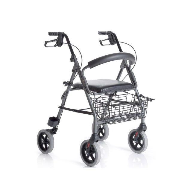 moretti spa deambulatore rollator alluminio 4 ruote con sedile mopedia