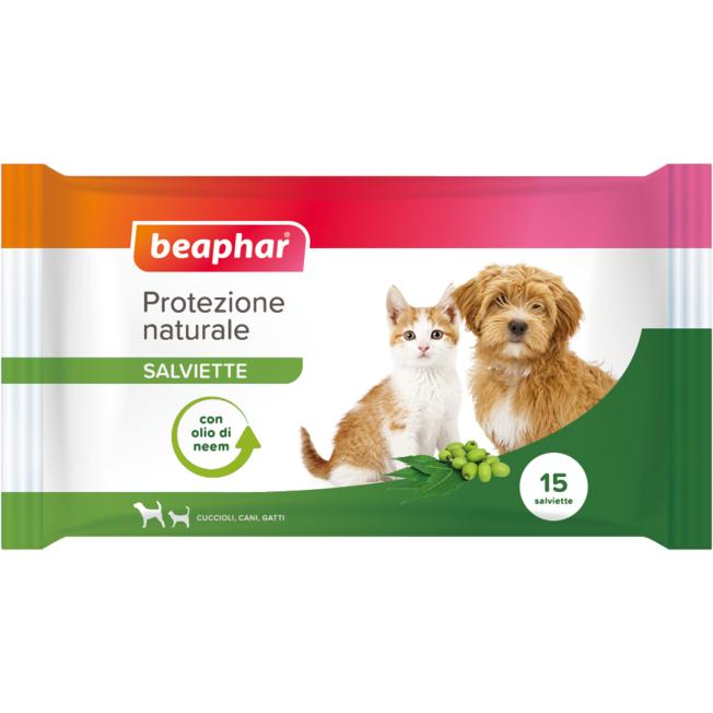 beaphar b.v. beaphar protezione naturale salviette antiparassitarie olio di neem cane/gatto 15 pezzi