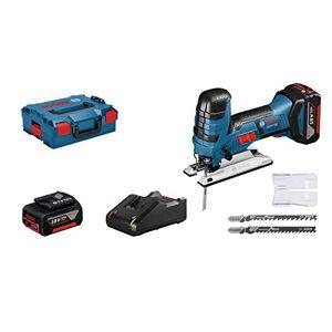Bosch Professional 06015A5107 Seghetto Alternativo GST 18V-LI S, 2 Batterie da 4 Ah, profondit di Taglio Legno 120 mm, in Valigetta L-BOXX, 18 V