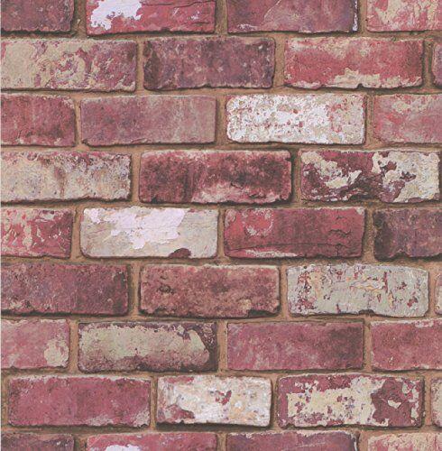 graham & brown hemingway 57146 - carta da parati, effetto mattoncini rossi