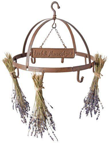 esschert design - essiccatore per fiori ed erbe aromatiche, circolare, a 8 ganci,  circa 38 cm, in ghisa, colore: marrone rossiccio