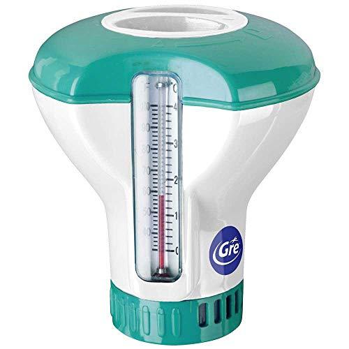 gre dct20-dosatore galleggiante con termometro da piscina, per pastiglie da 20 g