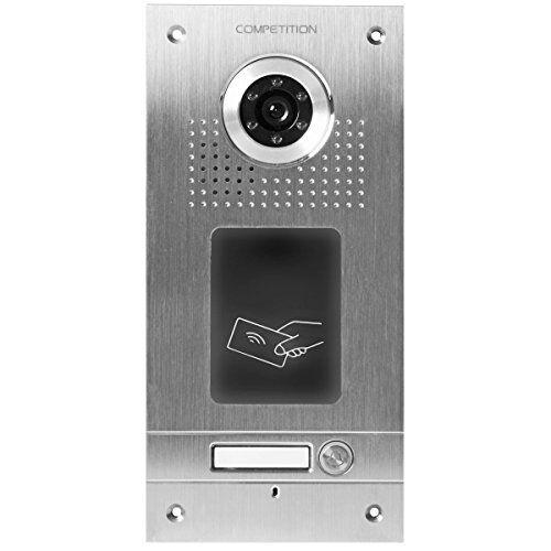ae, videocitofono a colori monofamiliare da esterno, placca frontale in acciaio inox, 1 pulsante, laser rfid integrato, montaggio a incasso, sac562c-cka(1)