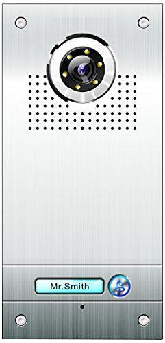 ae, videocitofono a colori monofamiliare, placca frontale in acciaio inox, 1 pulsante, montaggio a incasso, argento, sac562c-ck(n1)