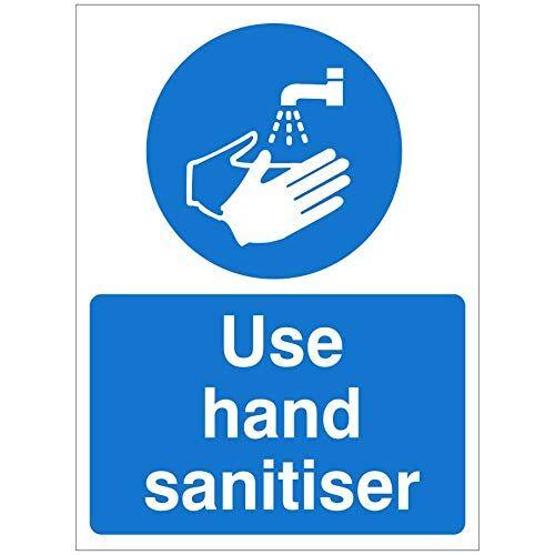uk safety store cartello disinfettante per le mani, 150 mm x 200 mm, autoadesivo (hyb.11w-sa)