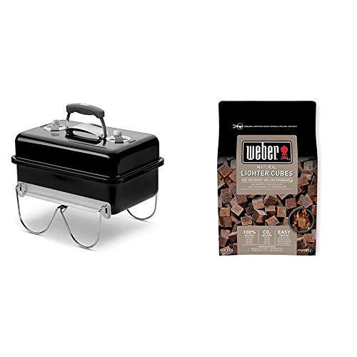 weber 1131004 - barbecue a carbone go-anywhere nero & 17612 cubetti accendifuoco 48 pastiglie sul marrone