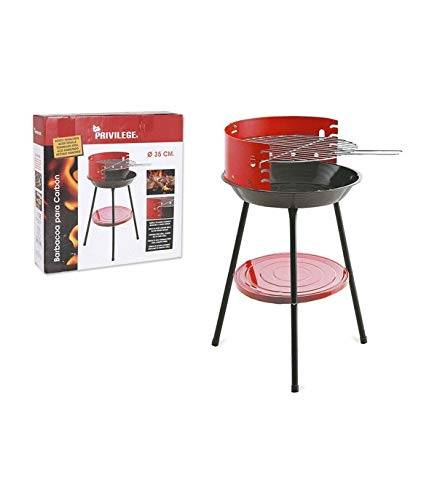 privilege barbecue in carbonio con gambe in acciaio smaltato rotondo rosso (diametro 35 cm), taglia unica