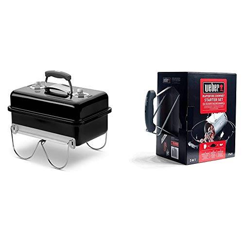 weber 1131004 - barbecue a carbone go-anywhere nero & 17631 kit ciminiera di accensione + 2 kg di bricchetti + 3 cubetti accensione