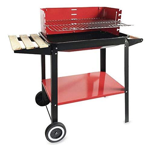 algon barbecue in carbonio con ruote ne gramo o rosso (58 x 38 x 72 cm), taglia unica
