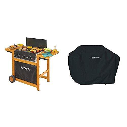 campingaz barbecue a gas adelaide 3 woody con 3 bruciatori in ghisa, potenza di 14 kw, carello in le + campingaz classic xl copri barbecue, nero, 28.2x5.5x39.1 cm