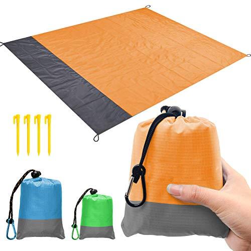 kaeha s-it-003-01 spiaggia, sabbia senza picnic pic-nic tasca esterna portatile impermeabile, coperta viaggi campeggio escursionismo verde 57x79 pollici, arancione