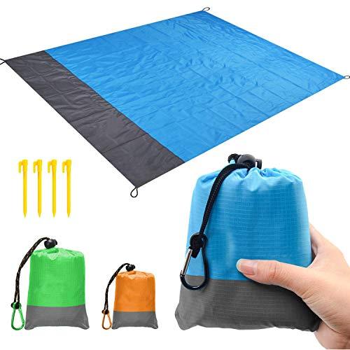 kaeha s-it-003-02 spiaggia, sabbia senza picnic pic-nic tasca esterna portatile impermeabile, coperta viaggi campeggio escursionismo verde 57x79 pollici, blu