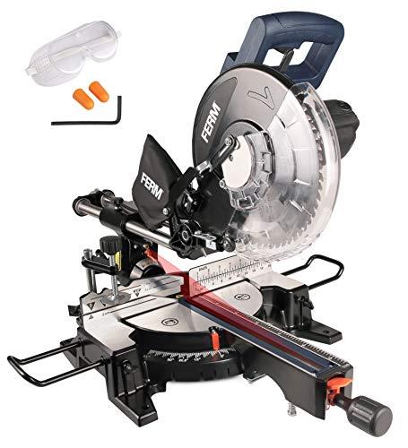ferm troncatrice radiale 1900w - 255 mm - laser - con tct t60 lama e sacco polvere   artigiano