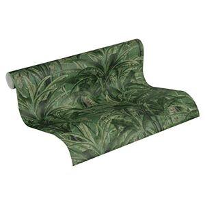 A.S. Création Greenery 364801 36480 - Carta da parati in tessuto non tessuto, effetto giungla, con foglie di palme, 10,05 x 0,53 m, verde e blu, 364802