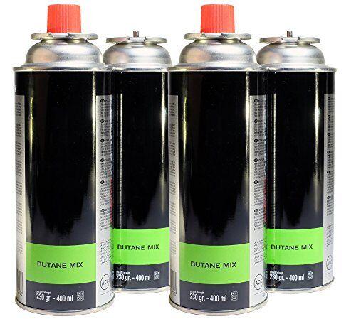 proweltek nbspcartucce di gas butano mix a baionetta,400ml,230g (confezione da 4), nero