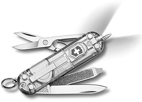 victorinox - coltellino multiuso 58mm - signature lite silver translucent con led bianco v-0.6226.t7