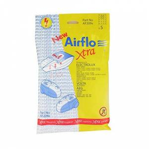 Airflo Maddocks 46-AF-209 - Sacchetti Airflo, prodotti in Europa, equivalenti alla serie Electrolux Boss Cylinder, compatibili con modelli di aspirapolvere Elextrolux, AEG, Volta, confezione da 5