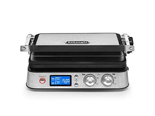 delonghi cgh1012.d multigrill bistecchiera grill elettrico, 2000 w, acciaio, nero/silver