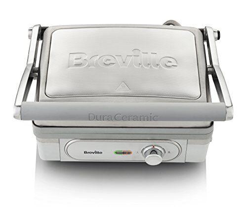 breville bistecchiera grill 1800 w, con piastre duraceramic, controllo temperatura, vasca raccolta grasso, argento