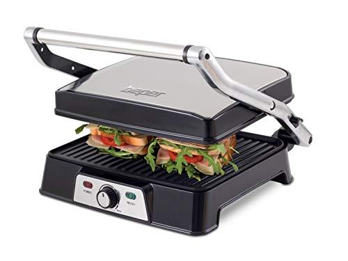beper bistecchiera 2000 watt-apertura piastre 180 w, metallo, grigio/nero
