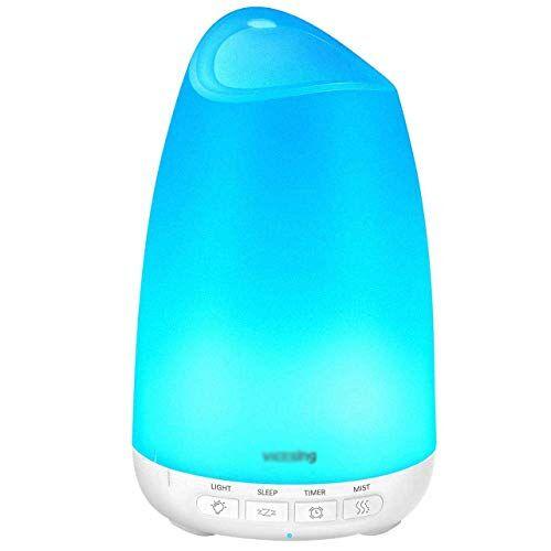 HDGZ Diffusore di Oli Essenziali, Diffusore di Aromi con Modalità Sleep, Umidificatore Ambiente Bambini Fino a 9 Ore di Lavoro, Diffusore Ambiente Luci Notturne 8 Colori, Senza BPA