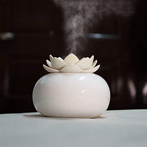 FairOnly - Umidificatore a ultrasuoni in ceramica, 200 ml, diffusore d'aria, purificatore a forma di loto, diffusore di oli essenziali bianco