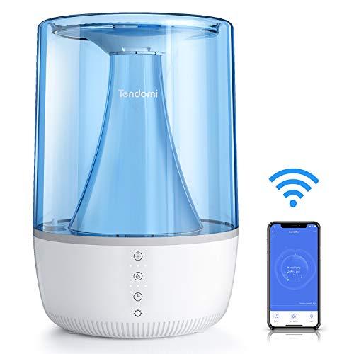 TENDOMI Umidificatore Ambiente Bambini, TENDOMI WIFI Umidificatore Ultrasuoni compatibile con Alexa & Google Home, APP Controllo, Design Top-fill, Modalità di Illuminazione a 6 Colori, Scatola Aroma