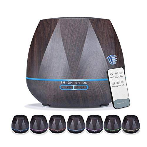 VGFTP Umidificatore a ultrasuoni per nebbia fredda, con diffusore di aroma di olio essenziale telecomandato, con diffusore di aromaterapia a 7 luci a led a colori 550 ml