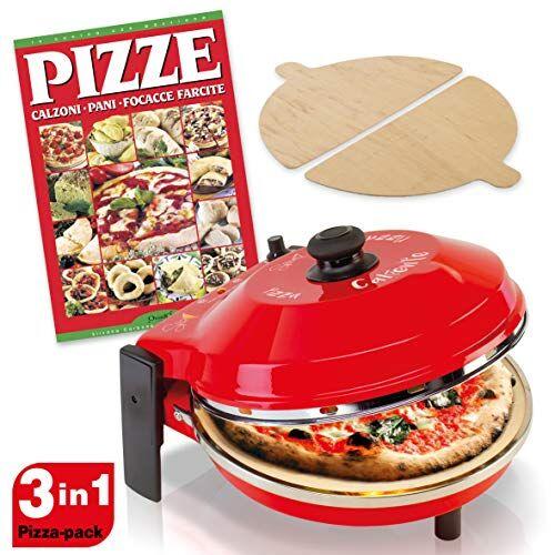 SPICE - Forno Pizza DIAVOLA e CALIENTE con pietra refrattaria 400 gradi Resistenza circolare (Forno P. 32 cm + Ricettario PIZZE)