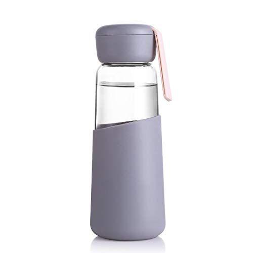 Wangwen Vetro Bottiglia Di Acqua 400ml Leak Proof Ideale For La Scuola Home Office Di Viaggio Sport Ginnastica Di Yoga Calde Bevande Fredde Con Trasporto Manica (Color : Brown)