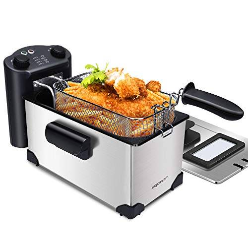 aigostar kenny - friggitrice ad olio in acciaio inox 3 litri con timer e controllo della temperatura. contenitore rimovibile, coperchio di visualizzazione e cestello per friggere con ganci. 2200 w