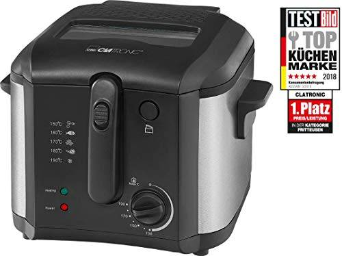 Clatronic FR 3649friggitrice, 1600W, Capacità 2,5L olio/grasso, termostato 130C-190C, applicazioni in acciaio inox, colore: nero