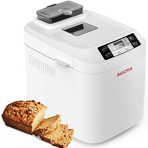 aucma macchina del pane,aucma macchina per il pane con scatola per ingredienti automatica,12 programmi,3 livelli di doratura, senza glutine, display lcd[classe di efficienza energetica a+++]