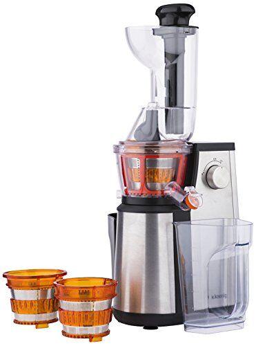 H.Koenig GSX22 Estrattore di succo, 3 Filtri per succo, Tubo Extra Large, 60 giri/min, Spremitura Lenta, Acciaio Inox, BPA Free 1L, 400W
