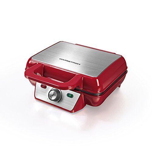 GOURMETmaxx Piastra per la preparazione di waffel alla belga   Macchina automatica per 2 waffel alla belga, rivestimento antiaderente   1000 Watt [rosso]