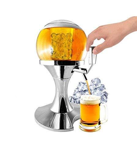 pricekiller® - spillatore birra da 3,5l con vano centrale ghiaccio distributore dispenser refrigerato bibite drink per casa, pub, discoteche, party forma pallone rotondo
