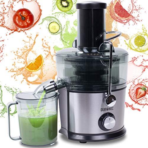 Duronic JE7C Centrifuga per frutta e verdura 800 W - Largo tubo di inserimento 85 mm per frutta intera - 2 velocità - contenitore polpa e caraffa per succhi - Per gustosi succhi di frutta o verdura