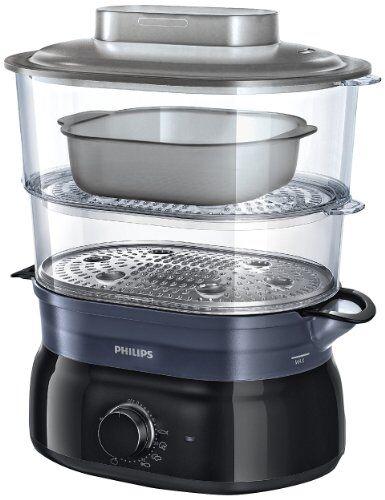 Philips HD9116/00 Vaporiera con Infusore di aromi, 2 cestelli, Capacità 5 L - Daily Collection -
